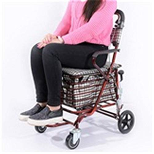GSHWJS Trolley Folding Portable Shopping Cart Seat Can Sit Old Scooter Four-Wheeled Grocery Shopping Small Cart Old Cart Trolley (Color : Wine red)