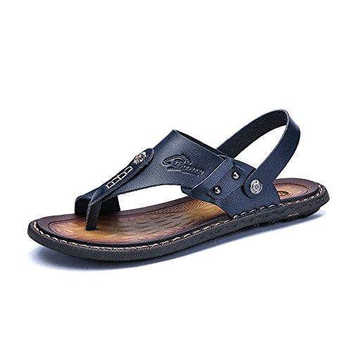 Mens pelle da Casual shoes di a 41 Sandali grandi uomo sandali di pantofola doppia dimensioni vacchetta da Blu 2018 funzione EU Dimensione spiaggia pattino in Color Cachi dwXtqd