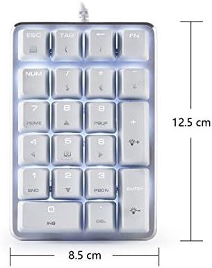 Teclado numérico mecánico 21 teclas con interruptores CHERRY Brown Blanco retroiluminado Mini Gaming Numpad para iMac / MacBook - Blanco Magicforce de ...