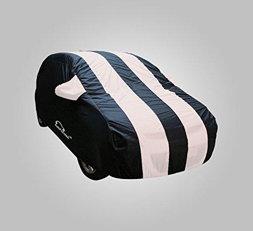 Autofurnish Stylish White Stripe Car Body Cover For Honda Brio – Arc Blue