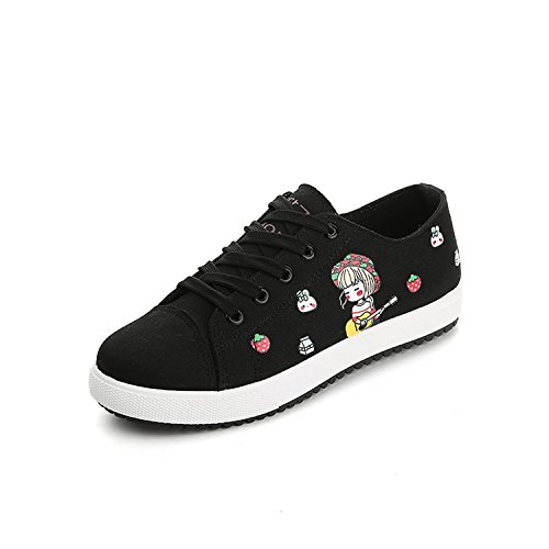 New high Casual Wild New Students Korean Shoes 2 Shoes Shoes Female black Loft shoes Spring Flat Cartoon Woman 886rB