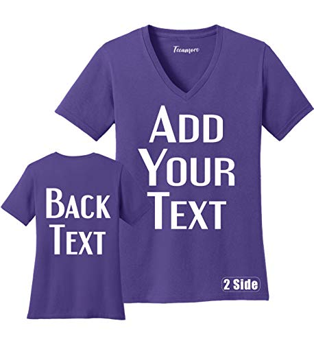 TEEAMORE Women Custom V Neck T Shirt Add Your Text Design Your Own Front Back Side Purple (T-shirt Designs Wedding)