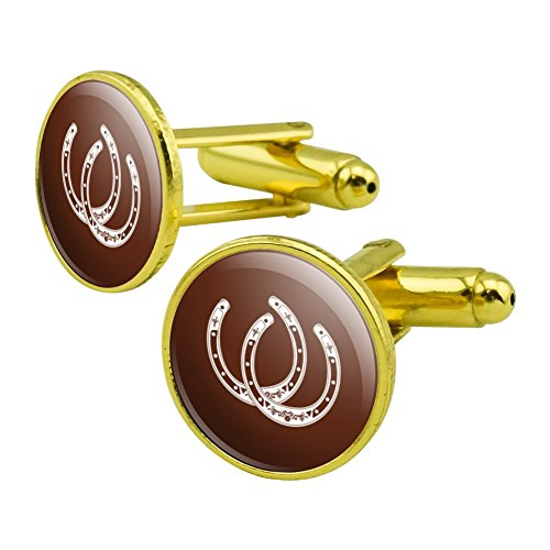 (Horseshoe Lucky Double Cowboy Brown Round Cufflink Set Gold Color)