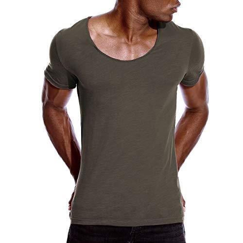 Mens Deep V Neck T Shirts Scoop Neck Slim Fit Basic Tee Shirt Casual Top Khaki M
