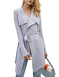 BerryGo Women's Lapel Knitted Open Front Waterfall Belted Trench Coat Cardigan