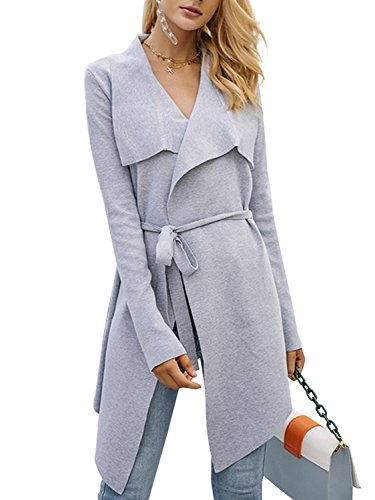 BerryGo Women's Lapel Knitted Open Front Waterfall Belted Trench Coat Cardigan Gray,One ()