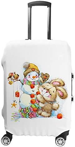 スーツケースカバー トラベルケース 荷物カバー 弾性素材 傷を防ぐ ほこりや汚れを防ぐ 個性 出張 男性と女性新年サンタバニー