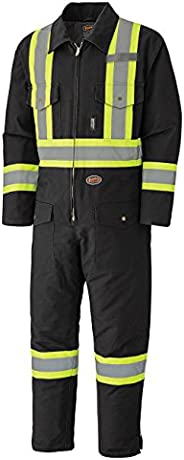 Pioneer Winter Heavy-Duty High Visibility Insulated Work Coverall, Quilted Cotton Duck Canvas, Hip-to-Ankle Zi