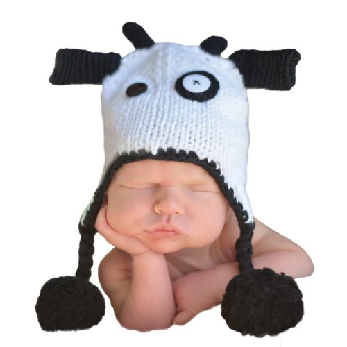 Cow Moo Little (Huggalugs Girls or Boys Moo Cow Baby Beanie Hat Medium 6-24 months)