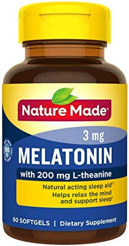 Nature Made Melatonin 3 mg with 200 mg L-theanine Softgels, 60 Count for Supporting Restful Sleep† (Packaging May Vary) - 3 Pack
