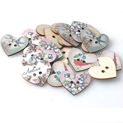 AKOAK 50 Pack 2-Hole Mixed Flower Bird Pattern Printed Wooden Peach Heart Shaped Buttons Wood Sewing Buttons DIY Scrapbooking Clothe Buttons