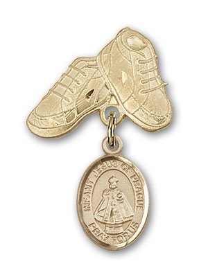 ReligiousObsession's 14K Gold Baby Badge with Infant of Prague Charm and Baby Boots Pin