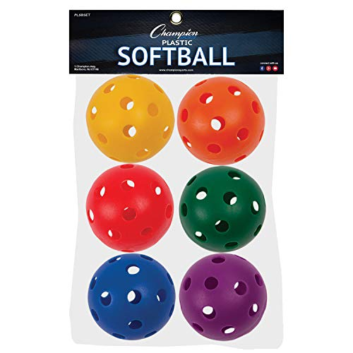 (Champion Sports Plastic Softball Set, 6 Assorted Colors)