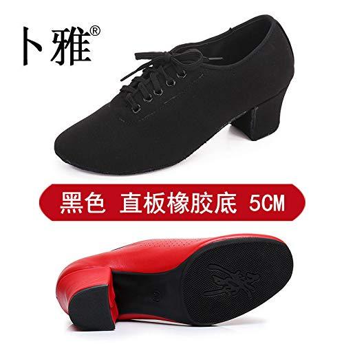 Sole Four AVBGT Shoes Straight Oxford Teacher Female Adult Autumn Cloth Heel Bottom Dance 5Cm Latin And Rubber Shoes Thirty Winter Black RxqzwBUR