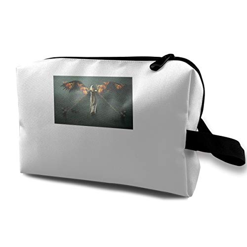 Fantasy Halloween Fallen Angel Girl Bounded By Chains Multi-function Travel Makeup Toiletry Coin Bag Case -