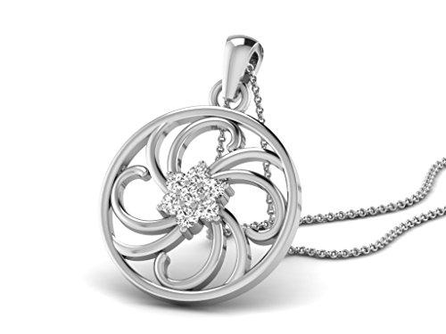 Or Blanc 18 ct Pendentifs Diamant en forme de rond, 0.1 Ct Diamant, GH-SI, 1.44 grammes.