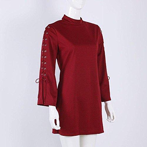 Donna Bandage Cerniera Rosso Vestito flare Manicotto lunga Solido Mini BYSTE Manica HPxq6q4