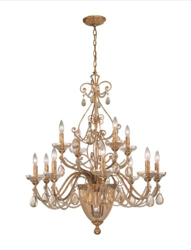 - Crystorama Tuscany Chandelier - 27.5W in. Etruscan Gold