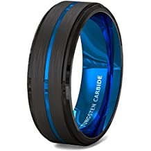 Duke Collections Mens Wedding Band 8mm Black Brushed Tungsten Ring Thin Blue Groove Step Edge Comfort Fit