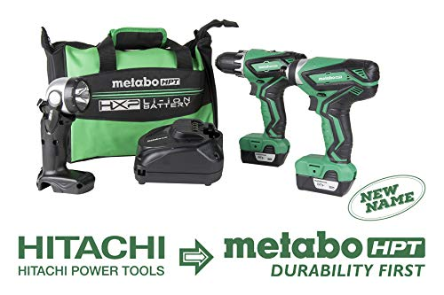 Metabo HPT KC10DFL2 12V Peak Cordless Combo Kit, Compact Driver Drill  Impact Driver, Includes 2 - 12V Lithium Ion Batteries, Flashlight, 40-Min Quick Charger  Carrying Bag, Lifetime Tool Warranty