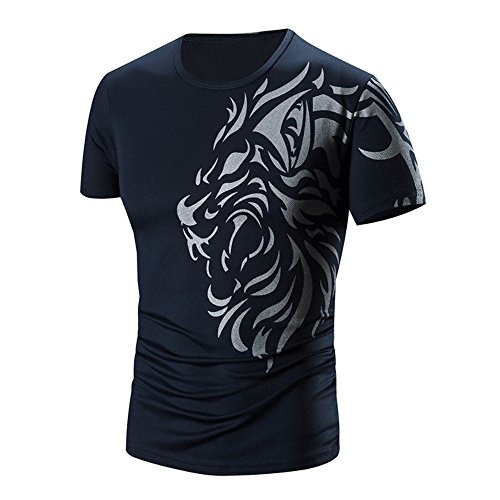 PASATO Men Summer Round Neck Tee Printing Men's Short-sleeved T-shirt Top Blouse(Navy,XXL=US:XL) by PASATO Blouse For Men (Image #8)