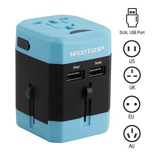 International Travel Adapter, Wootrip Worldwide All in One Power Converter Charger with Dual USB Charging Ports & Universal AC Socket Safety Fused For USA UK EU AUS CN Blue (Power Converter World)