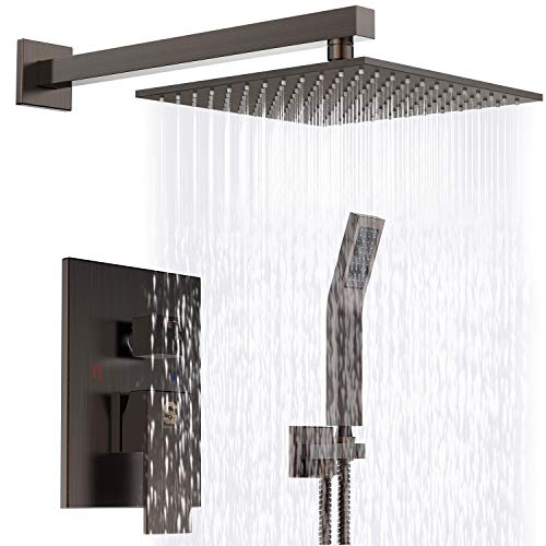 - SR SUN RISE Venetian Bronze Shower System 10 Inch Brass Bathroom Luxury Rain Mixer Shower Combo Set Wall Mounted Rainfall Shower Head System(Contain Shower faucet rough-in valve body and trim)