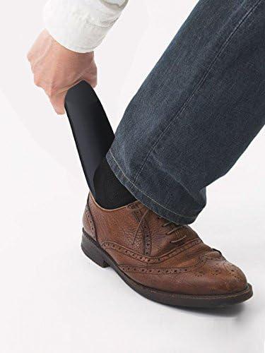 靴べら 携帯靴べら 靴ホーン プラスチック製 16cm シューホーン 穴付き リフター 黒