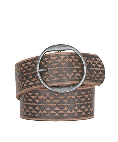 Woolrich Women's Vintage Embossed Leather Belt, BROWN/BLACK (Brown), Size M/L