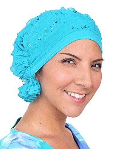 Turban Plus The Abbey Cap in Ruffle Fabric Chemo Caps Cancer Hats for Women  - VH Wigs 79fe1fd68915