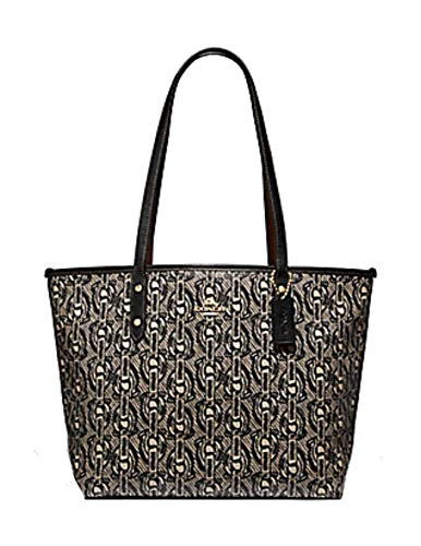 Coach City Zip Tote with Chain Print Black/Light Gold Leather Hobo