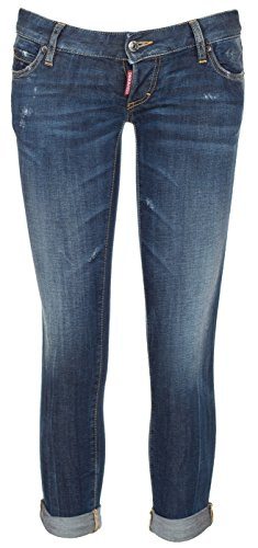 Dsquared2 Women's Blue Denim Distressed Rolled Up Pat Jeans, 24W, Blue