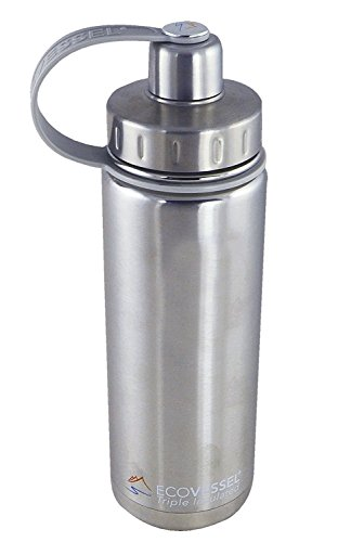 EcoVessel BOULDER TriMax Dual Opening Insulated Stainless Steel Water Bottle with Tea - Fruit and Ice Strainer - 32 oz - Silver