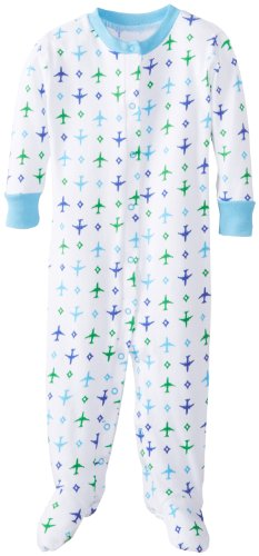 New Jammies Baby Boys' Airplanes Organic Baby Footie, Blue/White, 12 Months
