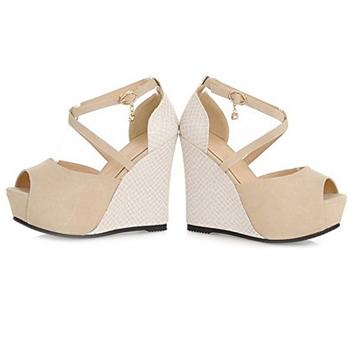SJJH Cute Wedges-Sandals with Thick Platform and Large Size Women Sandals for Sexy and Fashion Women Beige pBZIA5HMMD