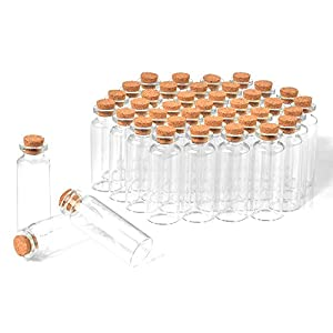 40 Pcs, 20ml Mini Glass Jars Bottles with Cork Stoppers, DIY Decoration Small Glass Bottles Favors,Mini Vials Cork…
