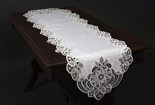 Xia Home Fashions XD17190 Antebella Lace Embroidered Cutwork Table Runner, 15 by 108-Inch, White by Xia Home Fashions (Image #2)
