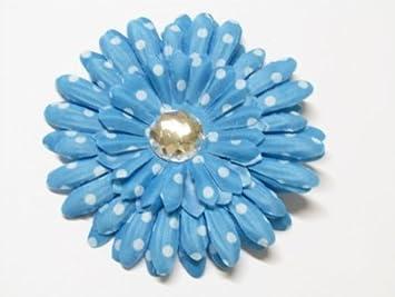 Amazon 4 gem center polka dot gerbera daisy flower blue 4 gem center polka dot gerbera daisy flower blue with white dots mightylinksfo