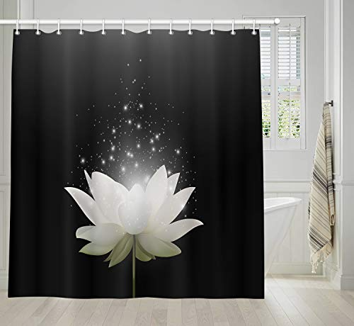 KOTOM Floral Bath Curtains Bathroom, Magic White Lotus Flower on Black Background, Fabric Shower Curtain Liner Waterproof, Drapes Accessories Hooks Included, 69X70 in Black And White Flower Fabric