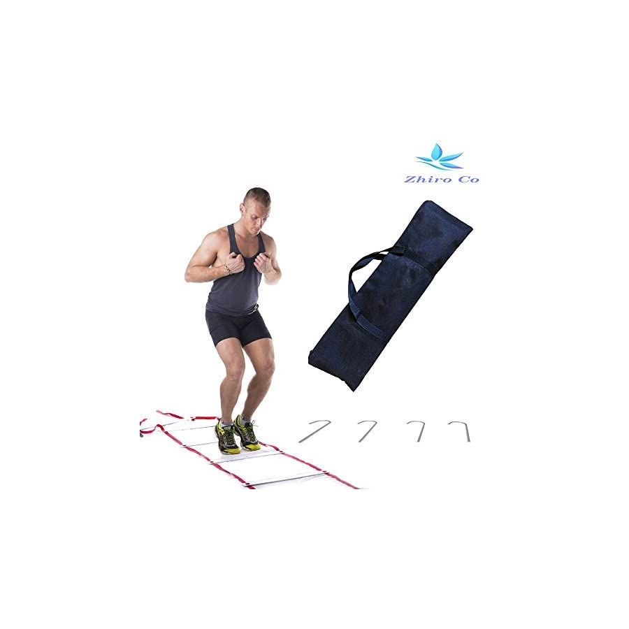 Agility Ladder 18 Adjustable Rungs 30 Feet 4 Ground Stakes and Carrying Bag by Zhiro Co, Improve Coordination, Strength and Speed. Quickness Equipment for Faster Footwork and Better Movement Skills.