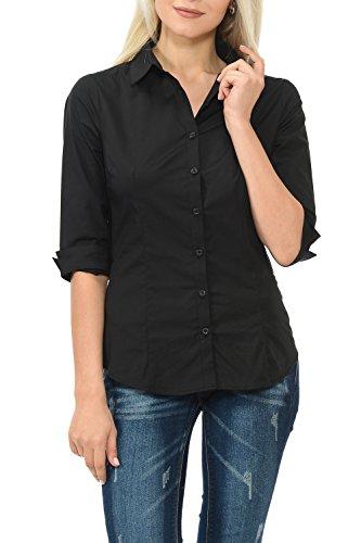 Buy black 3 4 sleeve shirt dress - 2
