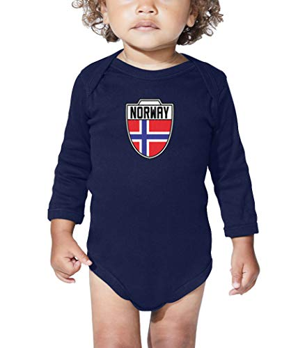 Norway - Country Soccer Crest Long Sleeve Bodysuit (Navy Blue, Newborn) ()