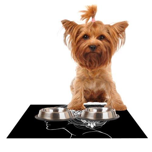 KESS InHouse Jennie Penny Organic Black  Feeding Mat for Pet Bowl, 18 by 13-Inch