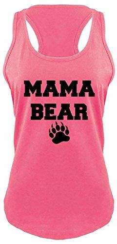 Ladies Racerback Tank Mama Bear Cute T Shirt Mom Mommy Tee Hot Pink ()