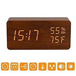 Digital Alarm Clock, Wood LED Adjustable Brightness Voice Control Desk Wooden Alarm Clock with Day/ Date/Temperature and Humidity USB/Battery Powered for Home, Office, Kids