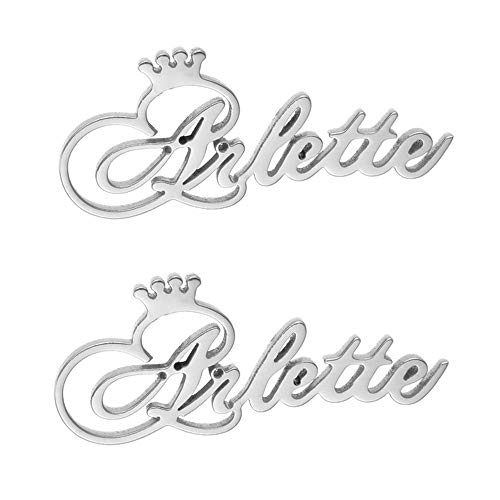 LONAGO Personalized Custom Engraved Name Stud Earrings with Crown, Customize Your Own Earring with Name (Style 1-Sterling Silver (Silver))