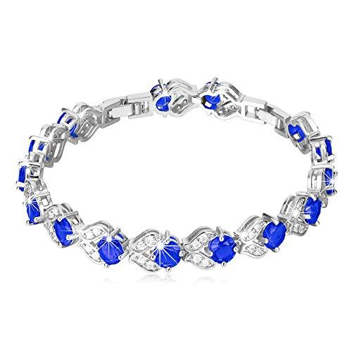 (U7 Women Sapphire Crystal Bracelet Platinun Plated Link Blue Cubic Zirconia CZ Tennis Bracelet)