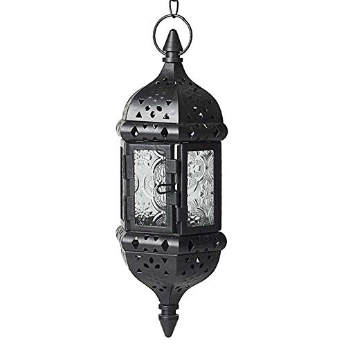 HUAHOO 1 pc Moroccan Style Candle Lantern Hanging Candle Lantern Mystical Decorative Metal Glass Candle Lantern Light Contain 40cm Chain(Black) (Moroccan Lanterns)