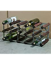 Classic 15 Bottle Dark Oak Stained Wood and galvanised Metal Wine Rack Ready Assembled