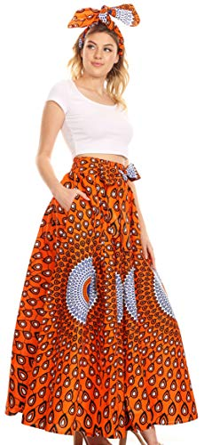 - Sakkas 16317 - Asma Convertible Traditional Wax Print Adjustable Strap Maxi Skirt | Dress - 24-Multi - OS